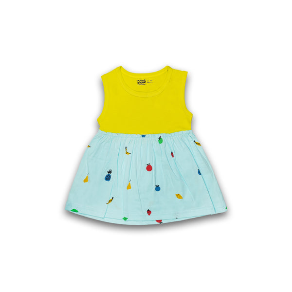 Cotton Frock for baby Girl Lemon Yellow & Blue color with Print Design