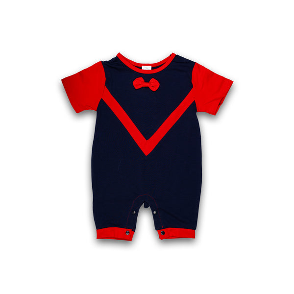 Romper for Boys in Blue and Maroon Color in Cotton Material