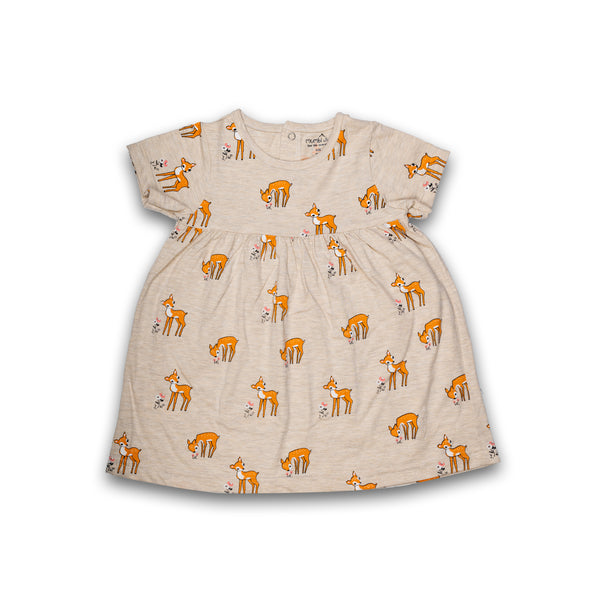 Cotton Frock for baby Girl Off White with Orange color with Print Design