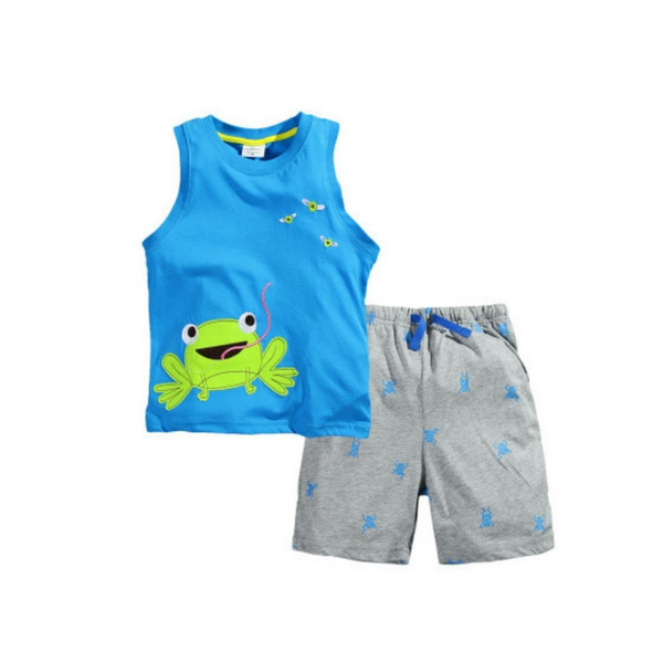 Boys Sleeveless T shirt set Blue & Grey