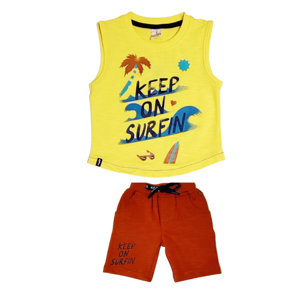 Yellow and Maroon Cotton Sleeveless T-Shirt For Boys