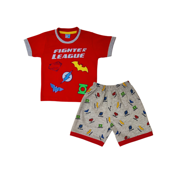 Red and Off White Cotton Party Wear T-Shirt Set for Boys