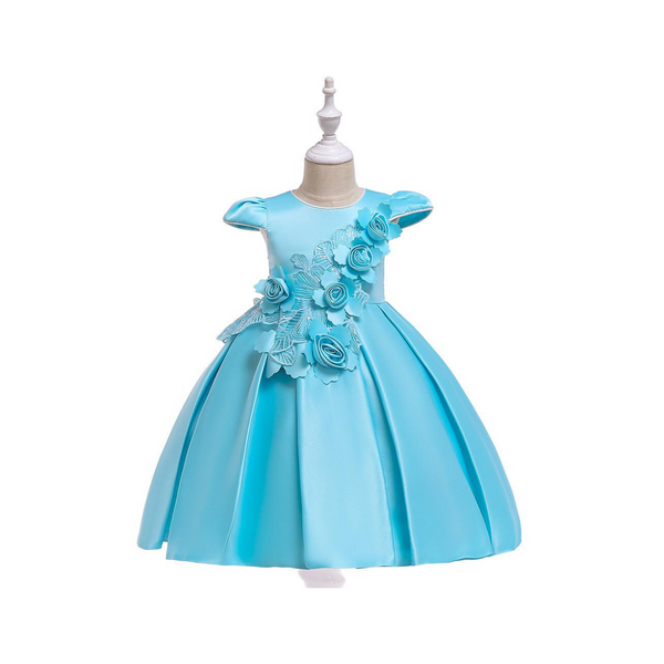 Sky Blue Satin Wedding Party Frock for Girl