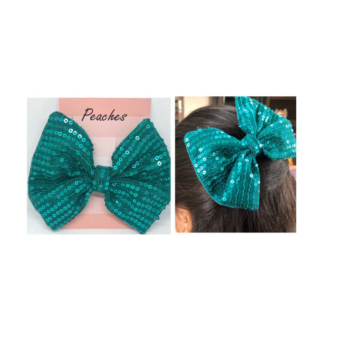Green Color Sequin work Hair for party Dress for baby Girl