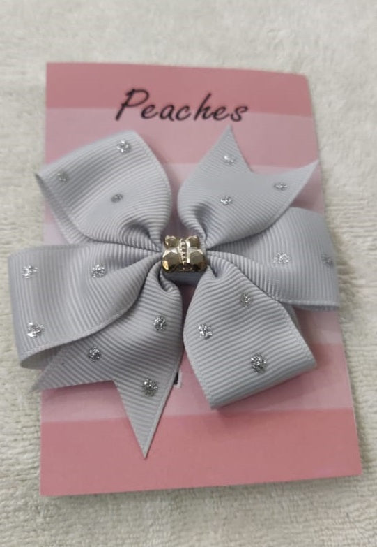 Grey Color Party Dresses Hair Clip for Baby Girl