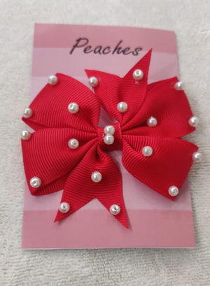 Red Color Party Dresses Hair Clip for Baby Girl