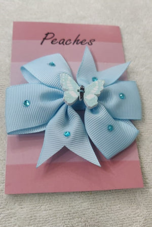 Sky Blue Color Party Dresses Hair Clip for Baby Girl