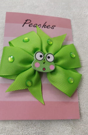 Green Color Party Dresses Hair Clip for Baby Girl
