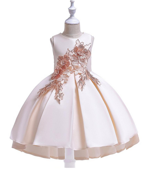 Off White Satin Embroidered Party Wear Frock for Girl