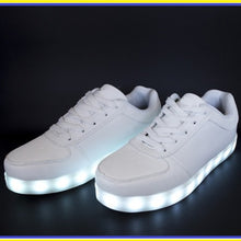 Load image into Gallery viewer, Kids LED Light Up White Lace Up Trainers