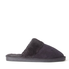 Load image into Gallery viewer, Mens Luxury Fleece Lined Black Slip On Mule Slippers