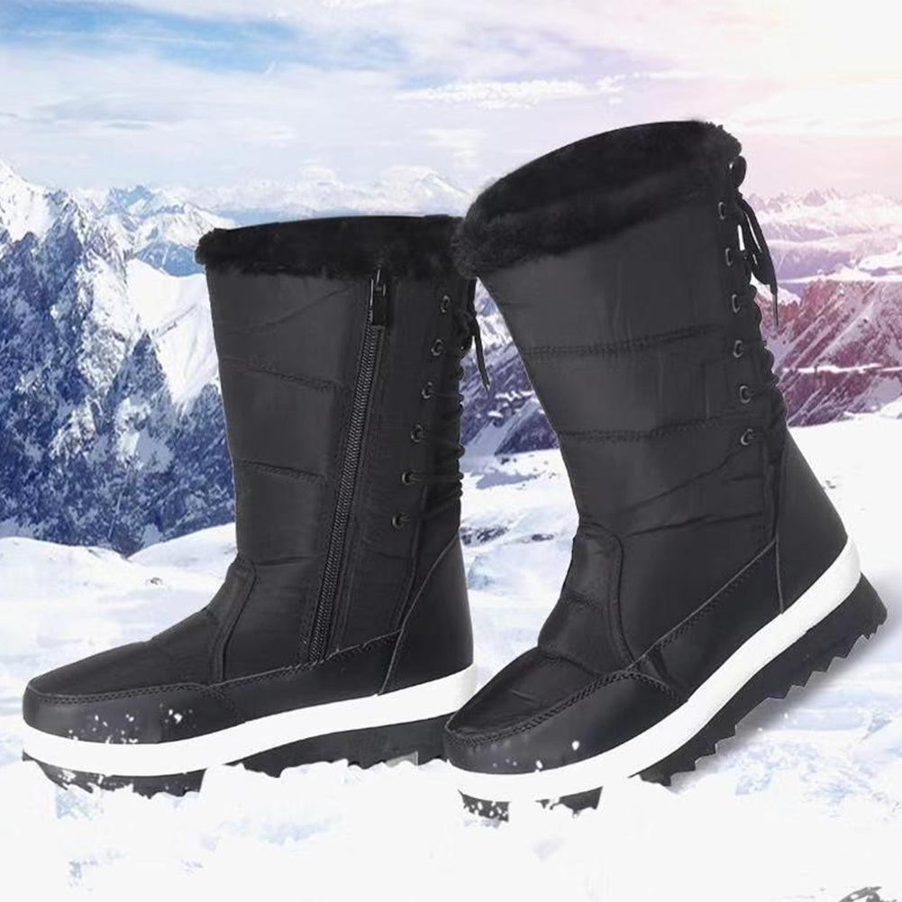 Fleece Lined Luxury Black Ski Style Winter Calf Boots