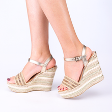 Load image into Gallery viewer, Espadrille Wedge Sandals In Gold