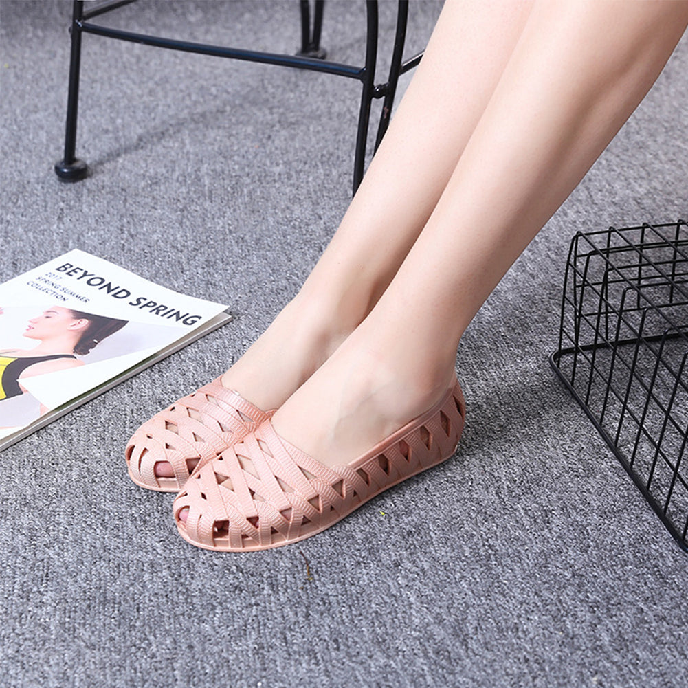 Cut Out Design Jelly Slip On Ballet Blush Pumps