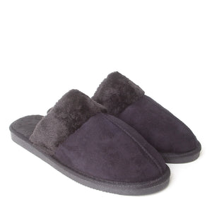Mens Luxury Fleece Lined Black Slip On Mule Slippers