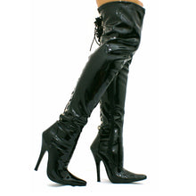 Load image into Gallery viewer, Thigh High Over The Knee Corset Back Lace Black Patent Boots