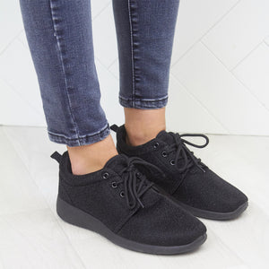Black Glitter Detail Mesh Breathable Lace Up Gym Trainers