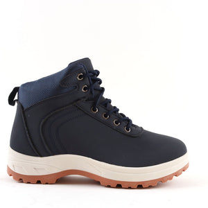 Mens Navy Hiking Ankle Lace Up Boots