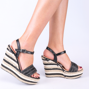 Espadrille Wedge Sandals In Black