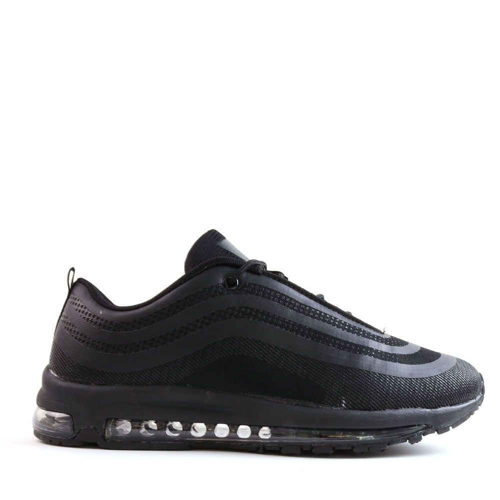 Mens Black Gym Running Air Bubble Sole Lace Up Trainers