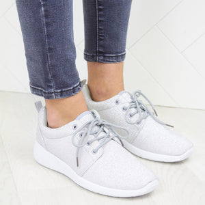 Grey Glitter Detail Mesh Breathable Lace Up Gym Trainers