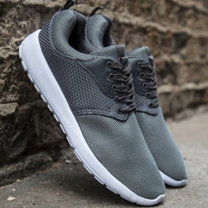 Mens Mesh Grey Running Gym Outdoor Lace Up Trainers
