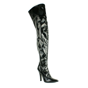 Thigh High Over The Knee Zip Up Kinky Black Patent Boots