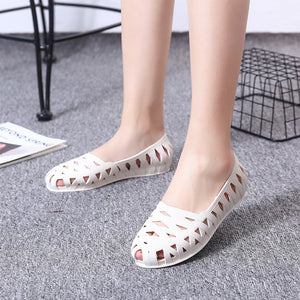 Copy of Cut Out Design Jelly Slip On Ballet White Pumps