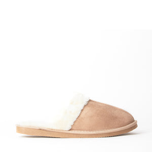 Mens Luxury Fleece Lined Beige Slip On Mule Slippers