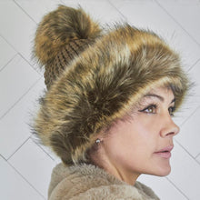 Load image into Gallery viewer, Pom Pom Faux Fur Brown Russian Style Winter Hat Beanie