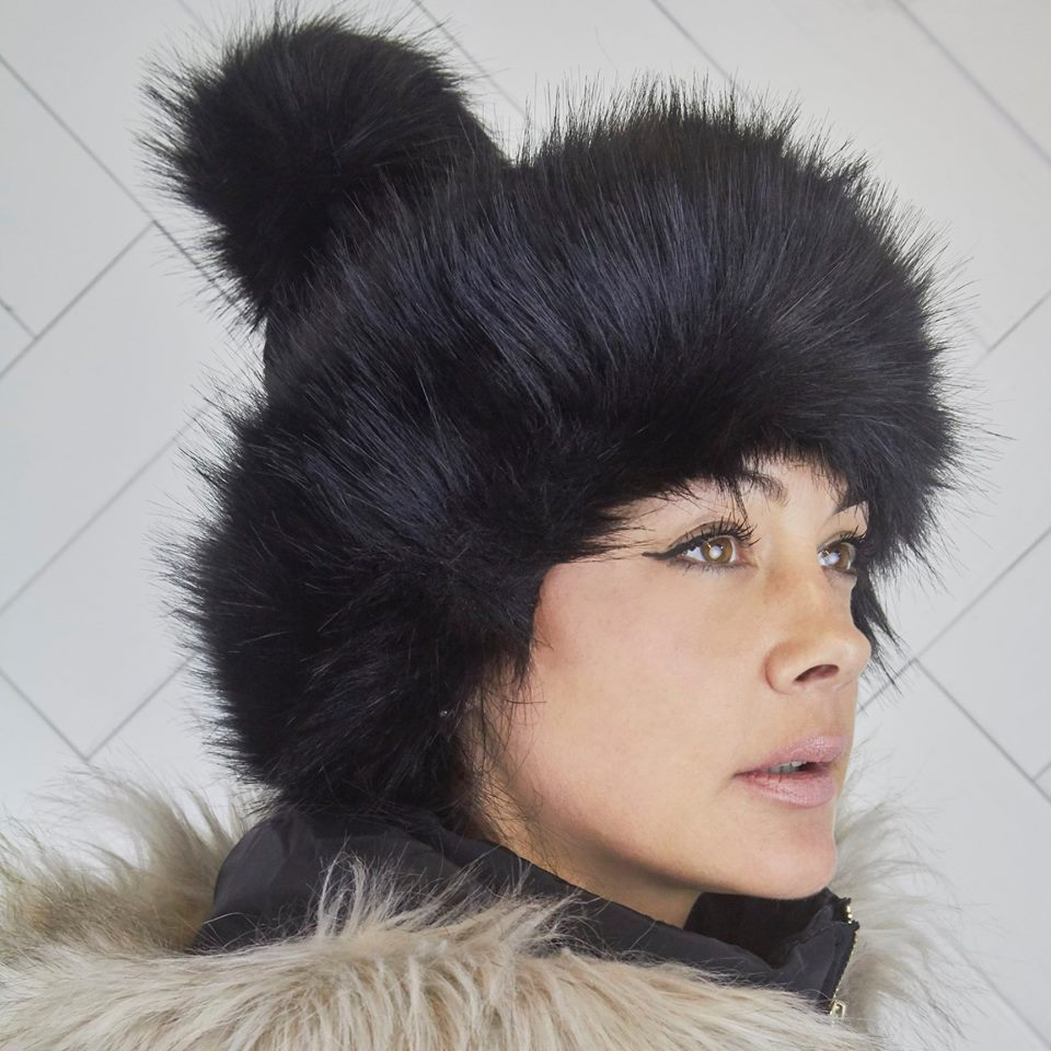 Pom Pom Faux Fur Black Russian Style Winter Hat Beanie