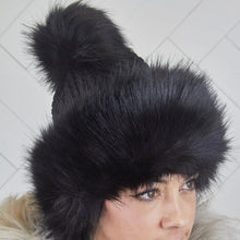 Load image into Gallery viewer, Pom Pom Faux Fur Black Russian Style Winter Hat Beanie