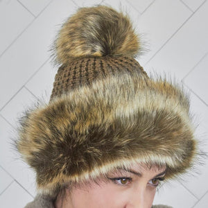 Pom Pom Faux Fur Brown Russian Style Winter Hat Beanie