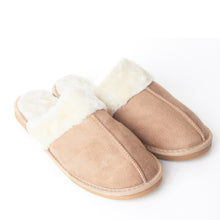 Load image into Gallery viewer, Mens Luxury Fleece Lined Beige Slip On Mule Slippers