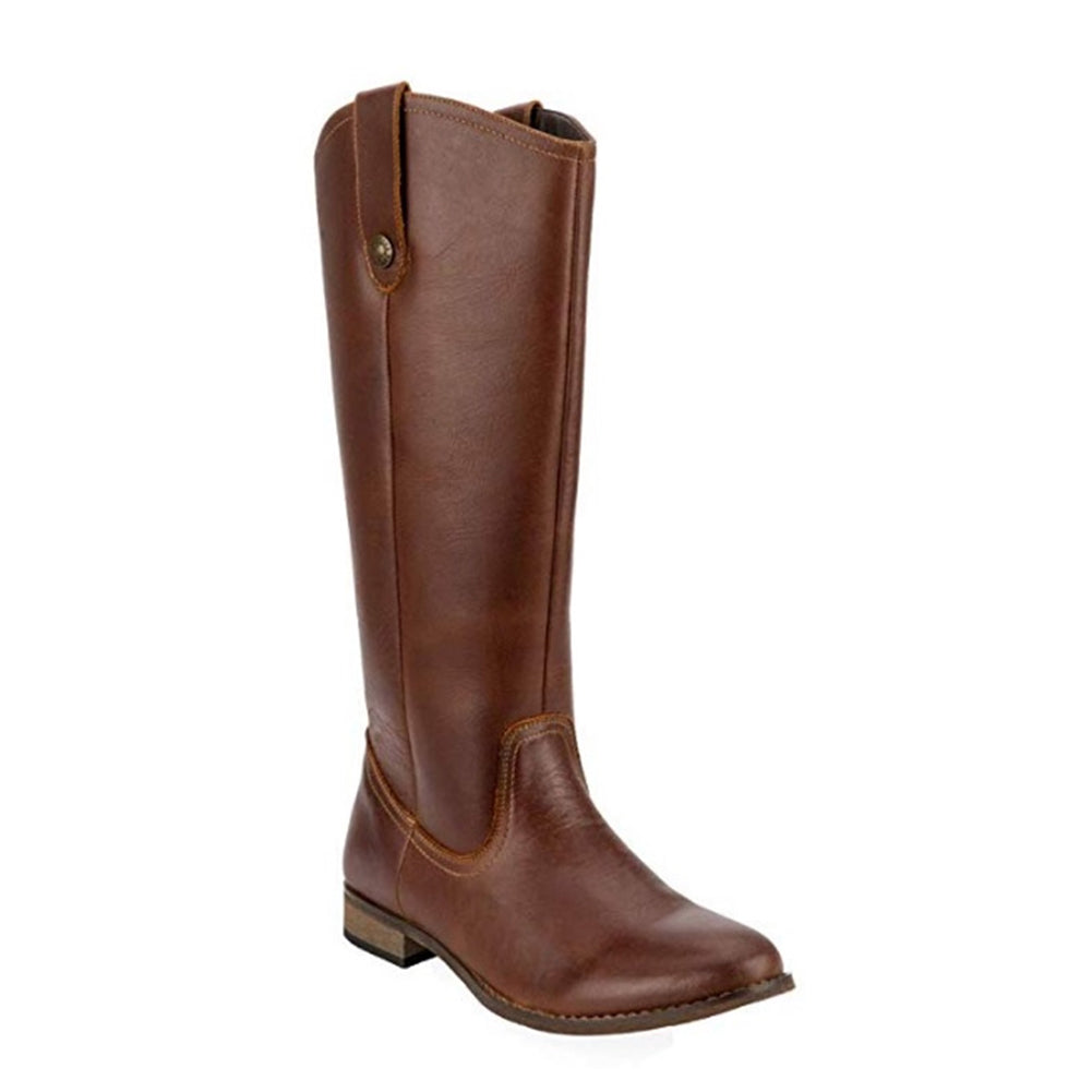Knee High Block Heel Brown Real Leather Western Boots
