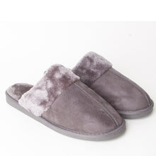 Load image into Gallery viewer, Mens Luxury Fleece Lined Grey Slip On Mule Slippers