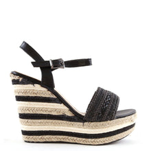 Load image into Gallery viewer, Espadrille Wedge Sandals In Black