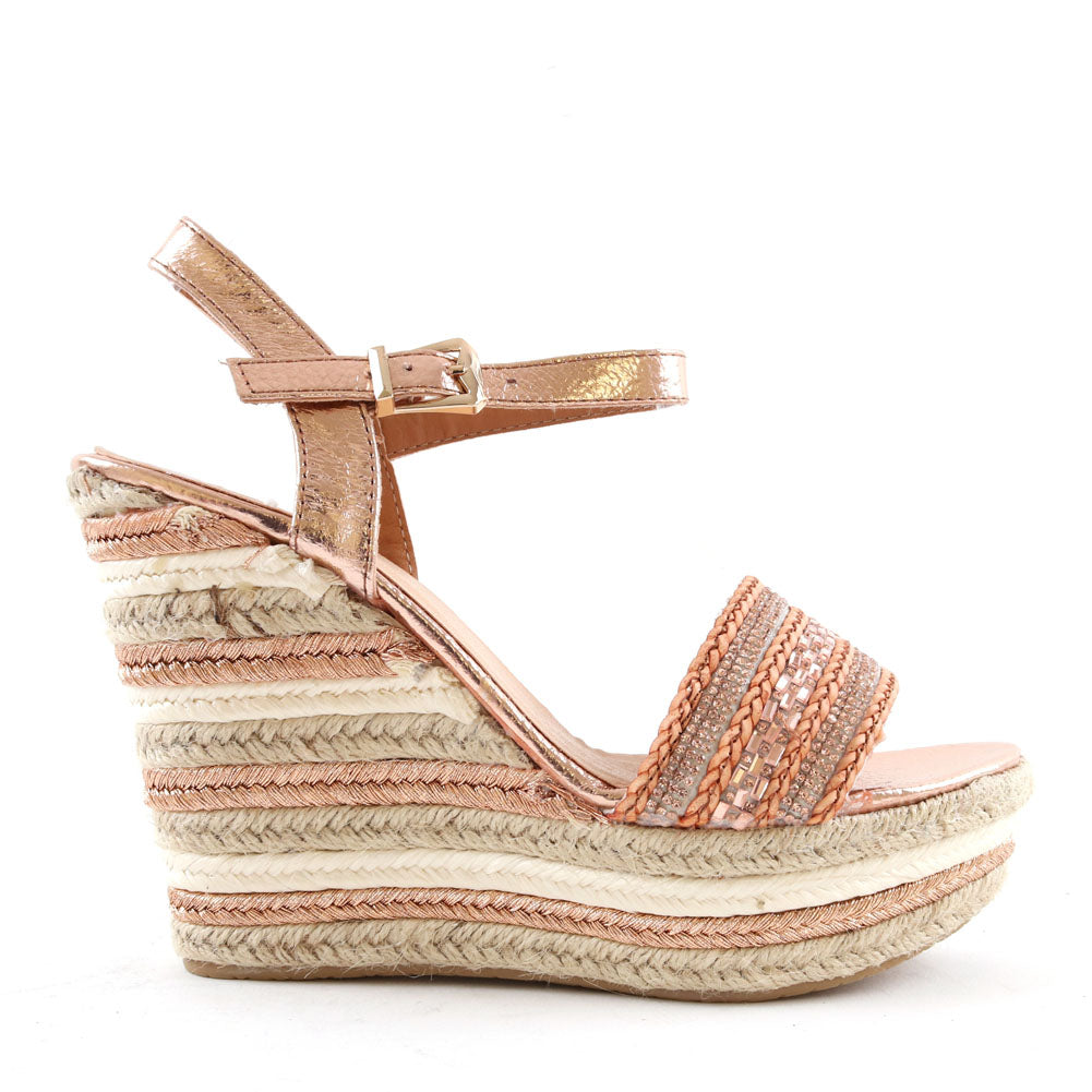 Espadrille Wedge Sandals In Rose Gold