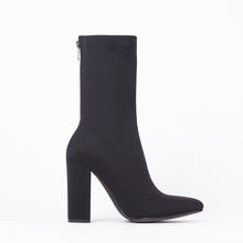 Load image into Gallery viewer, Alicia Black Pointed Block Heel Ankle Boots