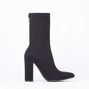 Alicia Black Pointed Block Heel Ankle Boots