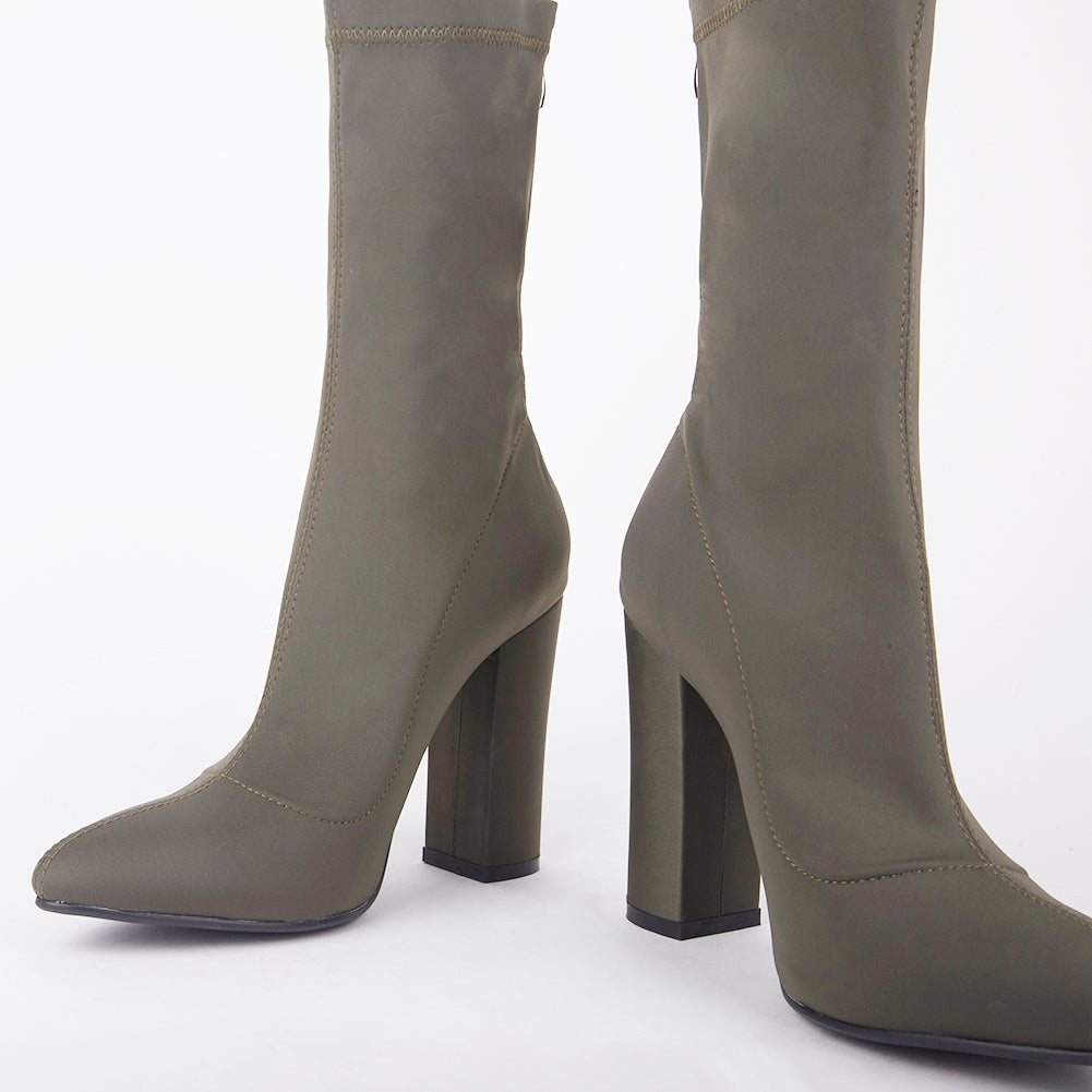 5755a1cbfc Alicia Khaki Pointed Block Heel Ankle Boots Alicia Lycra Ankle Boots Boot  Length: 12
