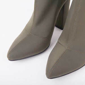 Alicia Khaki Pointed Block Heel Ankle Boots