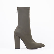 Load image into Gallery viewer, Alicia Khaki Pointed Block Heel Ankle Boots