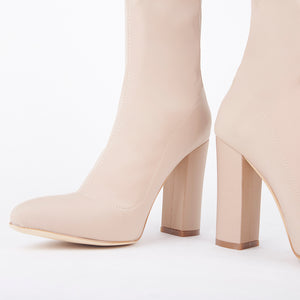 Alicia Nude Pointed Block Heel Ankle Boots