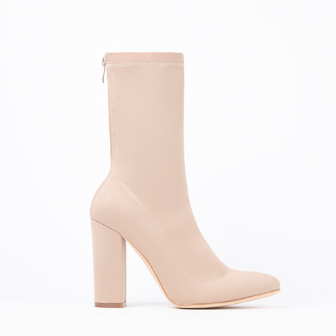 12a8740778 Alicia Nude Pointed Block Heel Ankle Boots