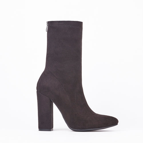 Alicia Black Pointed Block Heel Ankle Boots In Suede