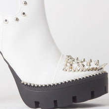 Load image into Gallery viewer, Alissa White Stud Platform Ankle Boots
