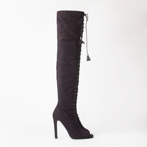 Ally Brown Lace Up Thigh High Boots With Stiletto Heel