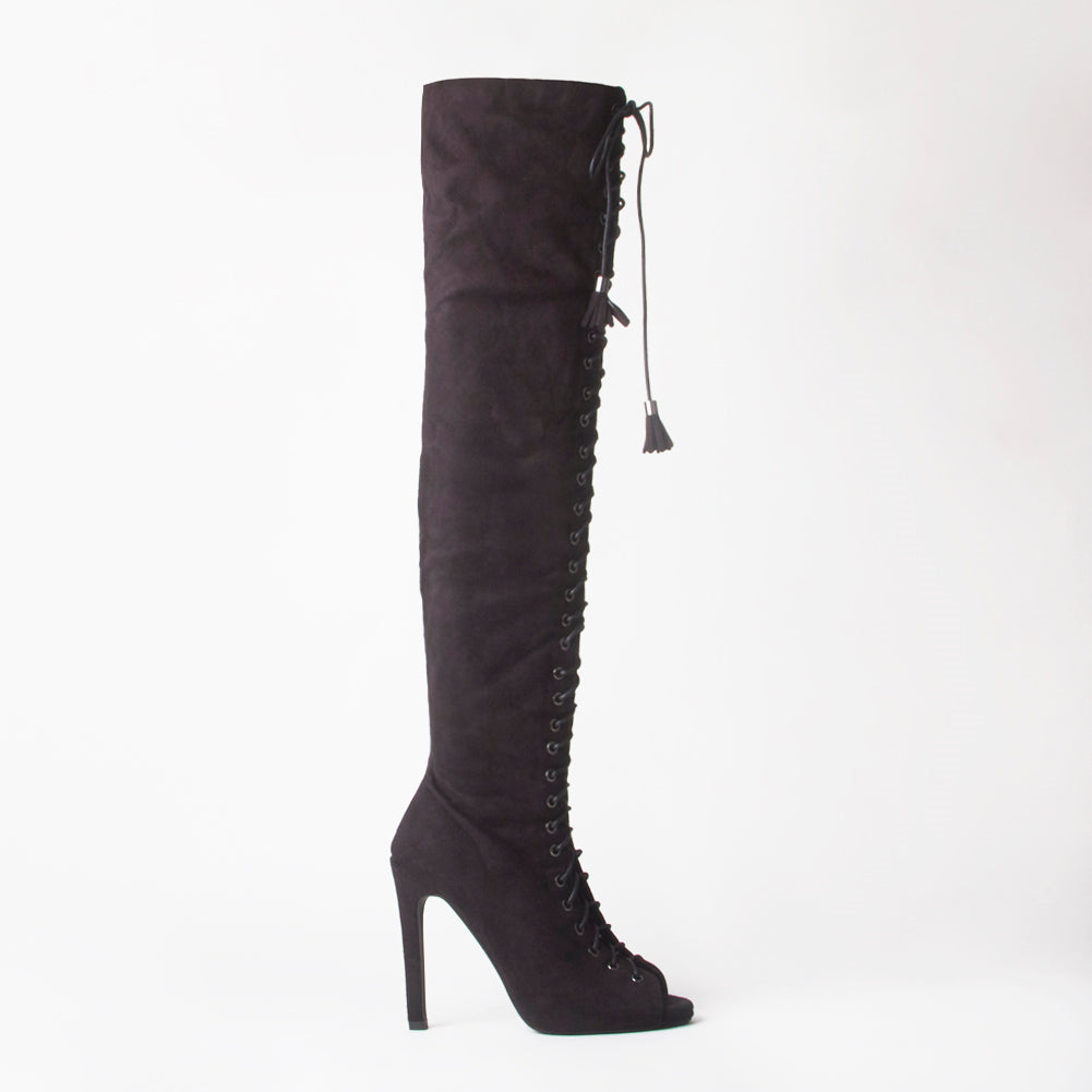 Ally Black Lace Up Thigh High Boots With Stiletto Heel