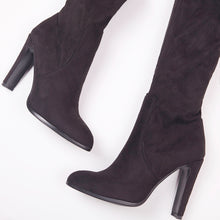 Load image into Gallery viewer, Amber Black Suede Knee High Boots